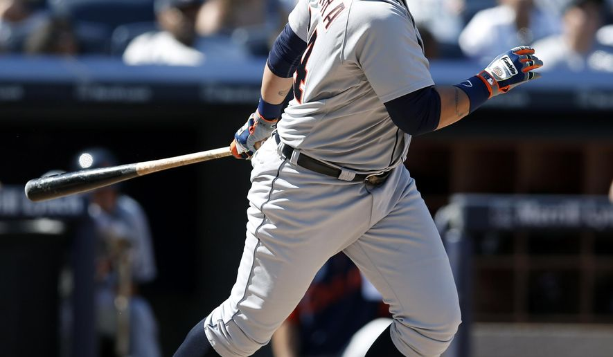 Detroit Tigers pinch hitter Miguel Cabrera hits into a ninth-inning double play in a baseball game at Yankee Stadium in New York, Thursday, Aug. 7, 2014.  The Yankees defeated the Tigers 1-0. (AP Photo/Kathy Willens)