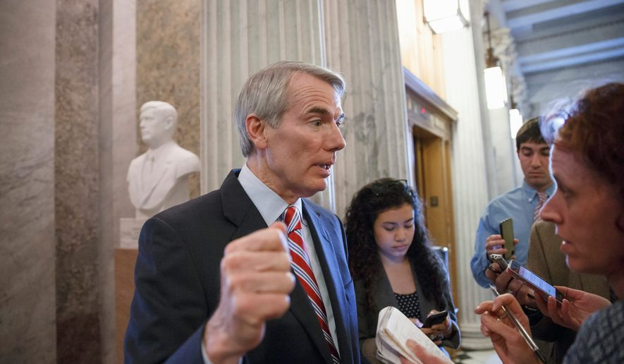 """Sen. Rob Portman, Ohio Republican, says, """"America is not the world's policeman. Cannot be, should not be. But we should be the sheriff."""" (associated presS)"""