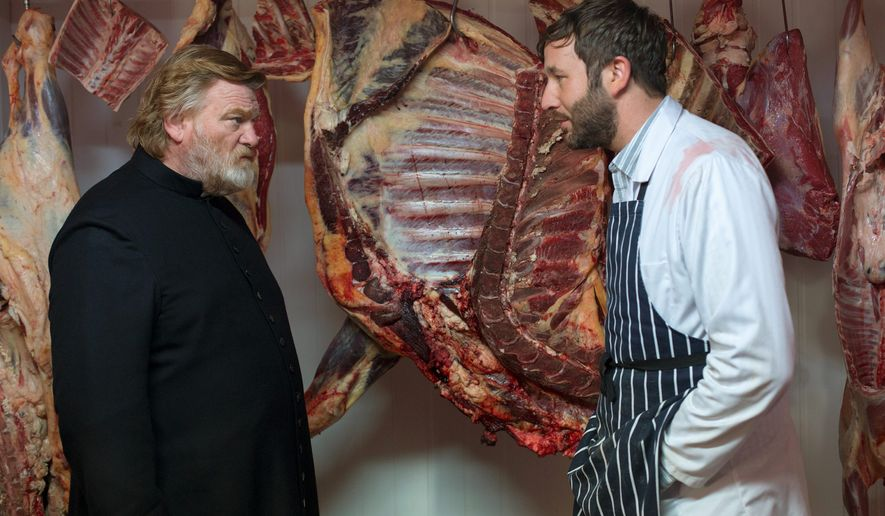 "Brendan Gleeson (left) plays a parish priest trying to live a godly life and Chris O'Dowd plays a possible madman with an unstable wife in ""Calvary."" (Associated Press)"