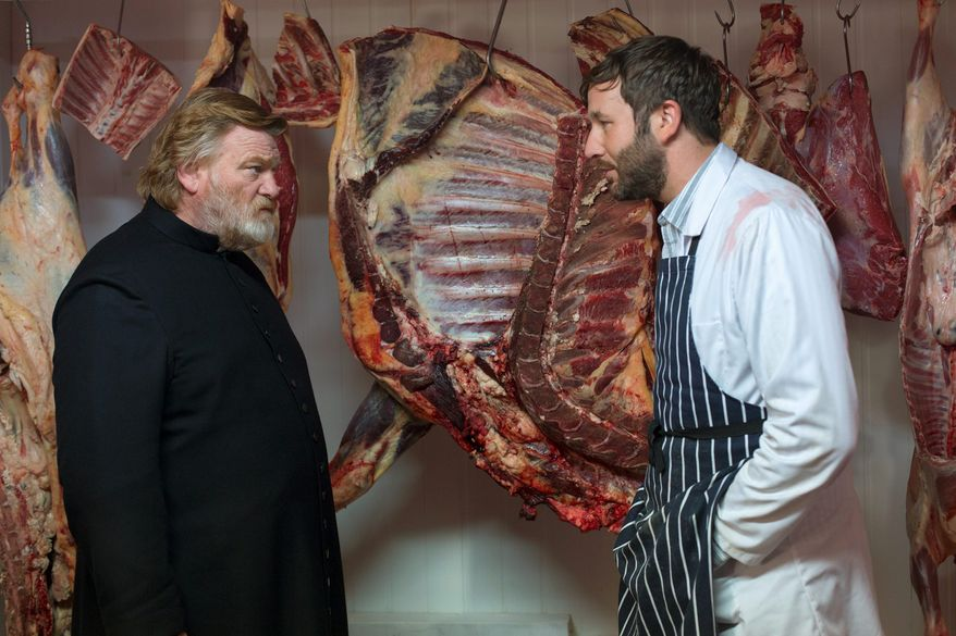 """Brendan Gleeson (left) plays a parish priest trying to live a godly life and Chris O'Dowd plays a possible madman with an unstable wife in """"Calvary."""" (Associated Press)"""