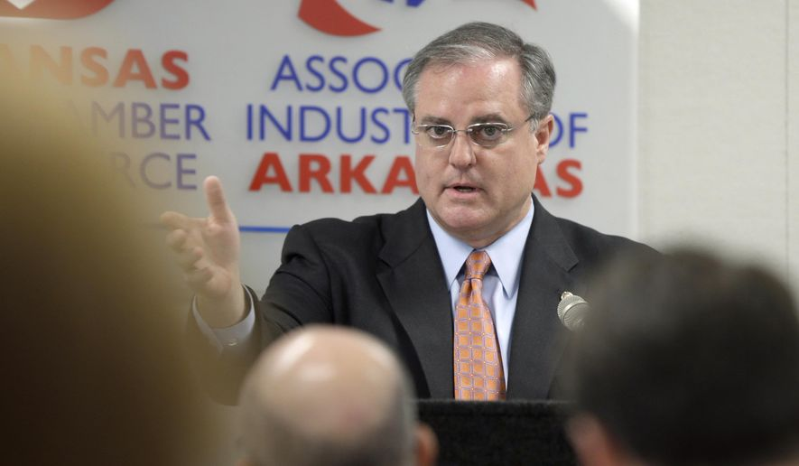 U.S. Sen. Mark Pryor speaks to members of the Arkansas Chamber of Commerce in Little Rock, Ark., Thursday, Aug. 7, 2014. Pryor is seeking his third term in office and is being challenged by Republican U.S. Rep. Tom Cotton, who represents Arkansas' 4th Congressional District. (AP Photo/Danny Johnston)