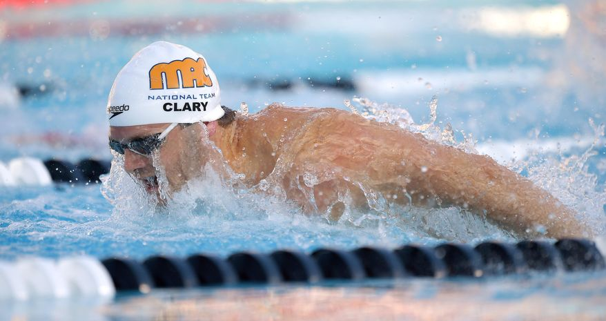 Tyler Clary swims the butterlfy during the men's 400 meter individual medley at the U.S. nationals of swimming, Friday, Aug. 8, 2014, in Irvine, Calif. Clary won the event. (AP Photo/Mark J. Terrill)