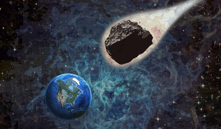 Coal Asteroid Attacks Earth Illustration by Greg Groesch/The Washington Times