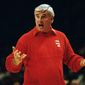 Indiana basketball coach Bobby Knight makes a point during his teams National Invitational Tournament at New York's Madison Square Garden in New York, Friday, Nov. 28, 1992. The Hoosiers overpowered their opponent by defeating Seton Hall 78-74 to take top honors in the pre-season tournament. (AP Photo/Mike Albans) ** FILE **
