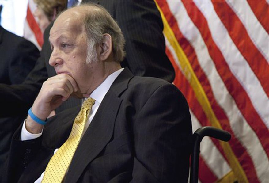 ** FILE **  Former White House press secretary James Brady who was left paralyzed in the Reagan assassination attempt during a news conference on Capitol Hill in Washington marking the 30th anniversary of the shooting. (AP Photo/Evan Vucci, File)