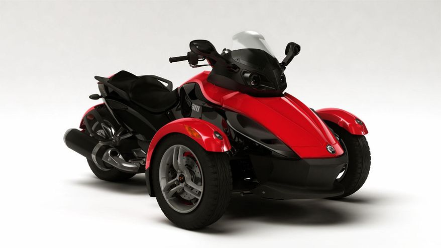 FILE - In this undated file photo provided by Bombardier Recreational Products shows the 2008 Can-Am Spyder three-wheeled motorcycle. U.S. safety regulators are investigating two reports of fires in Can-Am Spyders The probe announced Friday, Aug. 8, 2014 covers about 52,000 motorcycles from the 2008 through 2014 model year. (AP Photo/BRP)