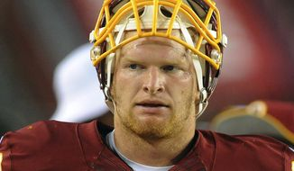 Washington Redskins linebacker Trent Murphy walks along the sidelines during the first half of an NFL football preseason game against the New England Patriots in Landover, Md., Thursday, Aug. 7, 2014. (AP Photo/Richard Lipski)