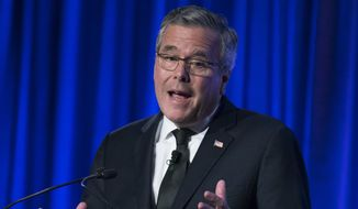 FILE - This May 12, 2014, file photo shows former Florida Gov. Jeb Bush as he speaks at the Manhattan Institute for Policy Research Alexander Hamilton Award Dinner, in New York. The Associated Press has tracked the movements and machinations of more than a dozen prospective presidential candidates including Bush. (AP Photo/John Minchillo, File)
