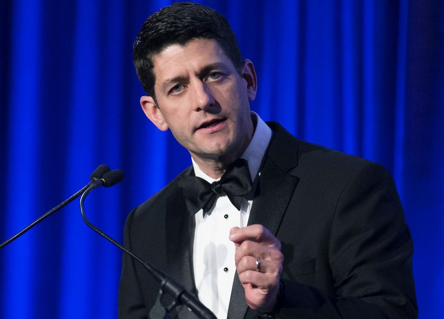 ** FILE ** This May 12, 2014, file photo shows Rep. Paul Ryan, R-Wisc., as he speaks at the Manhattan Institute for Policy Research Alexander Hamilton Award Dinner in New York. (AP Photo/John Minchillo, File )