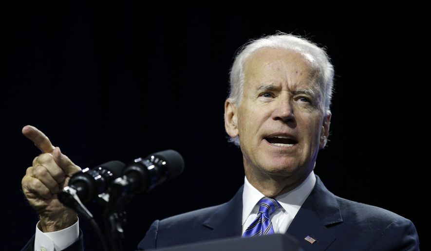 FILE - This July 23, 2014, file photo shows Vice President Joe Biden as he speaks on voting rights at the NAACP annual convention in Las Vegas. The Associated Press has tracked the movements and machinations of more than a dozen prospective presidential candidates including Vice President Biden.  (AP Photo/John Locher, File)