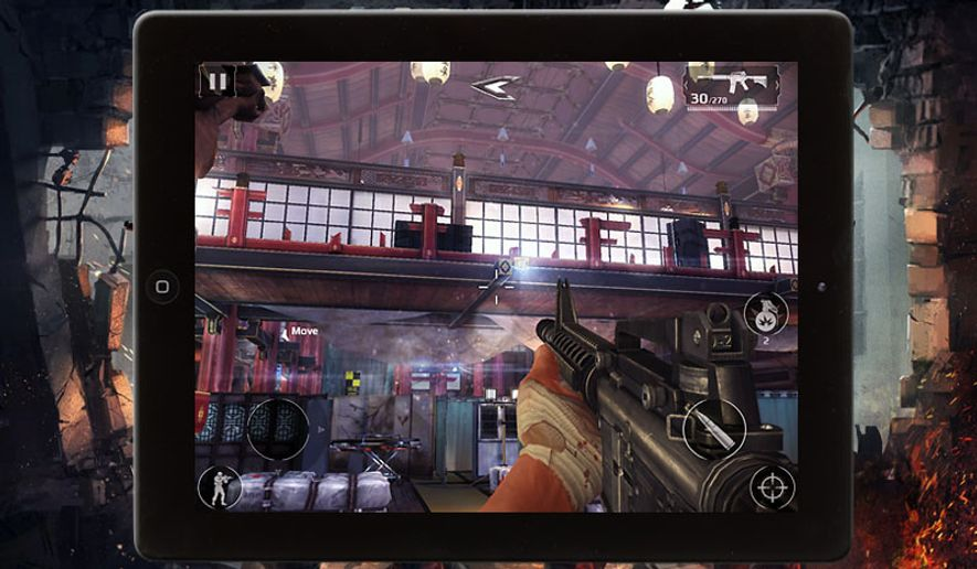 Play as the warrior Caydan Phoenix the iPad shooter Modern Combat 5 from Gameloft.