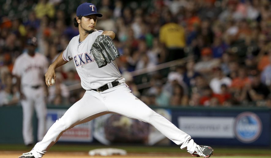 Texas Rangers' Yu Darvish delivers a pitch against the Houston Astros in the first inning of a baseball game Saturday, Aug. 9, 2014, in Houston. (AP Photo/Pat Sullivan)