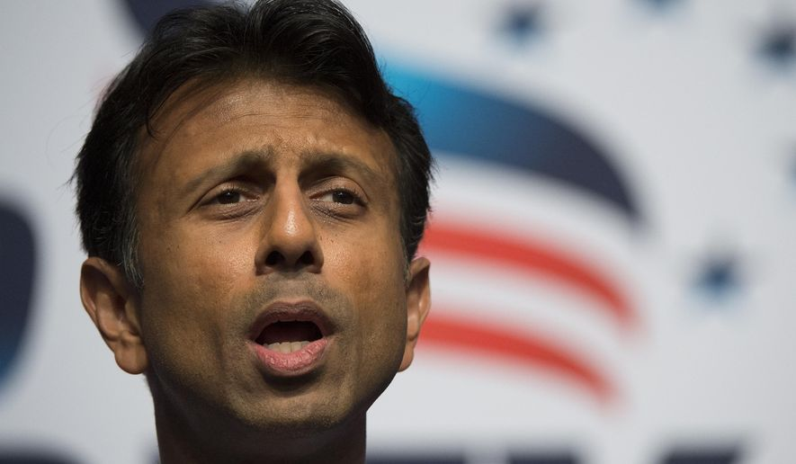 FILE - This June 21, 2014, file photo shows Louisiana Gov. Bobby Jindal as he speaks during Faith and Freedom Coalition's Road to Majority event in Washington. The Associated Press has tracked the movements and machinations of more than a dozen prospective presidential candidates including Jindal. (AP Photo/Molly Riley, File)