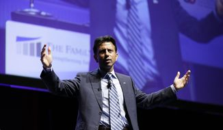 Louisiana Gov. Bobby Jindal speaks during The Family Leadership Summit, Saturday, Aug. 9, 2014, in Ames, Iowa. (AP Photo/Charlie Neibergall)