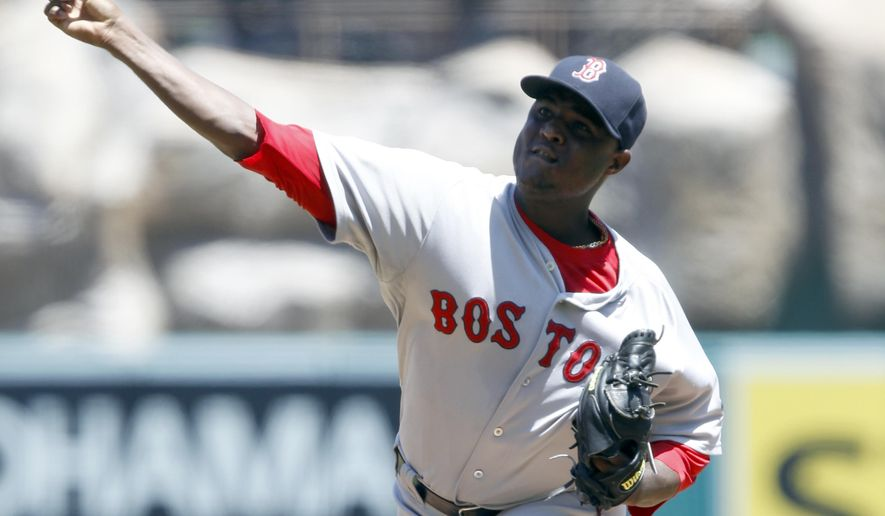 Boston Red Sox starting pitcher Rubby De La Rosa throws against the Los Angeles Angels in the first inning of a baseball game on Sunday, Aug. 10, 2014, in Anaheim, Calif. (AP Photo/Alex Gallardo)