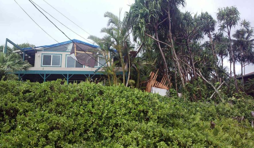 This photo provided by Andrew Fujimura shows the damage from Tropical Storm Iselle on a home in Puna, Hawaii, on Saturday, Aug. 9, 2014. Tropical Storm Iselle, knocked down trees, battered roofs and left the isolated area without electricity. (AP Photo/Courtesy Andrew Fujimura)