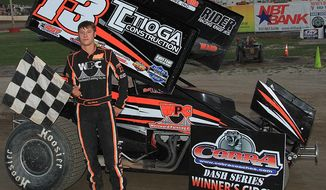 **FILE** This July 5, 2014 photo provided by Empire Super Sprints, Inc., shows sprint car driver Kevin Ward Jr., in the vicotry lane with his car at the Fulton Speedway in Fulton, N.Y. Ward was killed Saturday, Aug. 9, 2014 at the Canandaigua Motorsports Park in Central Square, N.Y., when the car being driven by Tony Stewart struck the 20-year-old who had climbed from his crashed car and was on the darkened dirt track trying to confront Stewart following a bump with Stewart one lap earlier. (AP Photo/Empire Super Sprints, Inc.)