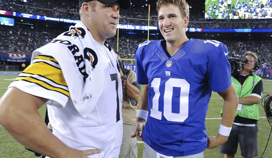 Pittsburgh Steelers quarterback Ben Roethlisberger (7) and New York Giants quarterback Eli Manning (10) talk after the Giants beat the Steelers 20-16 in a preseason NFL football game, Sunday, Aug. 10, 2014, in East Rutherford, N.J. (AP Photo/Bill Kostroun)