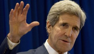 U.S. Secretary of State John Kerry speaks during the press conference at the lake garden hotel, outside the venue of the 47th ASEAN Foreign Ministers' Meeting in Naypyitaw, Myanmar, Sunday, Aug. 10, 2014. (AP Photo/Gemunu Amarasinghe)
