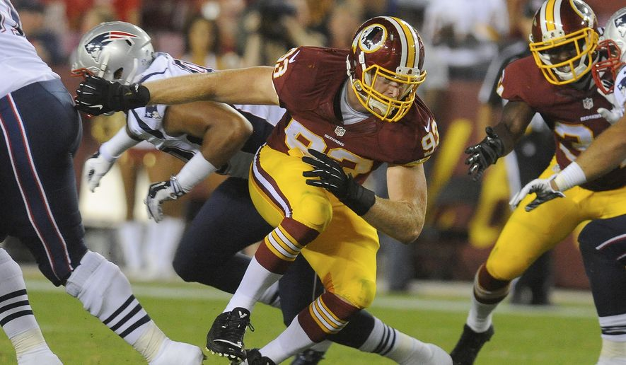 Washington Redskins linebacker Trent Murphy is seen in action during the first half of an NFL football preseason game against the New England Patriots in Landover, Md., Thursday, Aug. 7, 2014. (AP Photo/Richard Lipski)