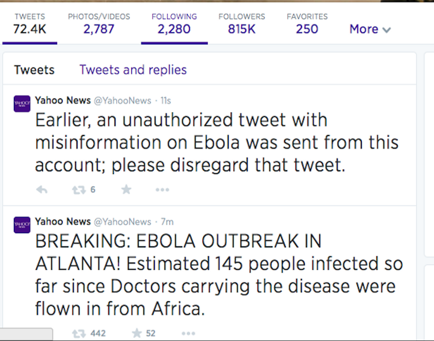 The Twitter account for Yahoo News appeared to have been compromised Sunday afternoon after it sent out a tweet that briefly panicked users. (Twitter)