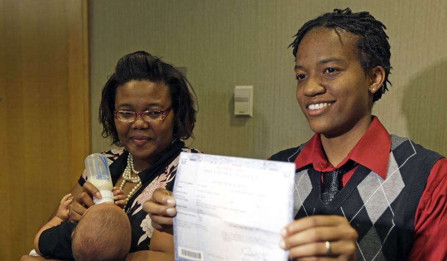**FILE** Brittni Rogers, right, stands with her partner Brittani Henry, as Rogers holds a birth certificate for their daughter that has both of their names on it, Wednesday, Aug. 6, 2014, in Cincinnati. The couple are plaintiffs in the Ohio gay marriage case heard Wednesday in Cincinnati. A three judge panel of the 6th U.S. Circuit Court of Appeals heard arguments in six gay marriage fights from four states, Kentucky, Michigan, Ohio and Tennessee. (Associated Press)