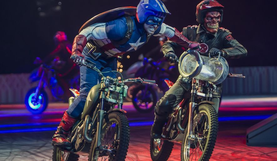 "This undated image released by Marvel Entertainment shows performers dressed as Marvel characters in the new live arena show called ""Marvel Universe Live!"" The show has begun an 85-city over the next two years, flooding stages with a dizzying array of actors and promising to up the ante when it comes to theatrical events. (AP Photo/Marvel Entertainment)"