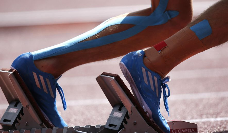 Finland's Oskari Moro starts in his 400m hurdles heat during the European Athletics Championships in Zurich, Switzerland, Tuesday, Aug. 12, 2014. (AP Photo/Petr David Josek)