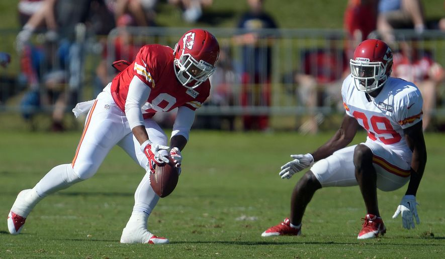 Kansas City Chiefs receiver Albert Wilson (8) tries to hang onto the ball during NFL football training camp Tuesday morning, Aug. 12, 2014, in St. Joseph. Mo. (AP Photo/St. Joseph News-Press, Todd Weddle)