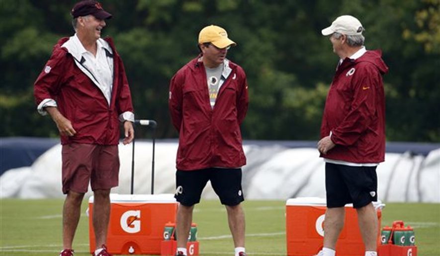 Washington Redskins president and general manager Bruce Allen, left, stands with owner Daniel Snyder and minority owner Dwight Schar during practice at the team's NFL football training facility, Sunday, July 27, 2014 in Roanoke, Va. (AP Photo/Alex Brandon)
