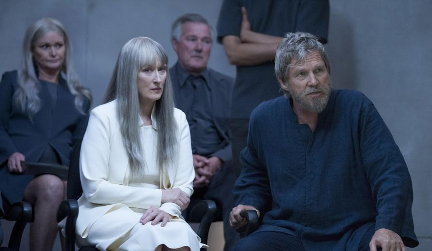 "This image released by The Weinstein Company shows Meryl Streep, left, and Jeff Bridges in a scene from ""The Giver."" (AP Photo/ The Weinstein Company)"