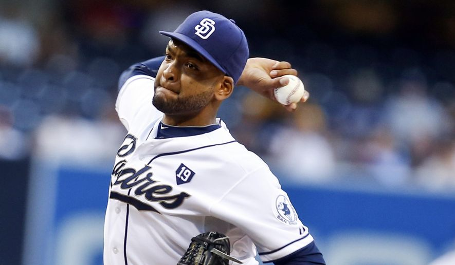 San Diego Padres starting pitcher Odrisamer Despaigne throws against the Colorado Rockies in the first inning of a baseball game Tuesday, Aug. 12, 2014, in San Diego. (AP Photo/Lenny Ignelzi)