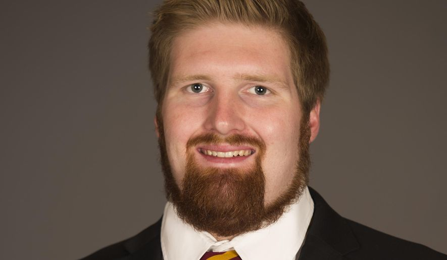 "This undated image provided by Arizona state University shows Edward ""Chip"" Sarafin in Phoenix. Arizona State offensive lineman Sarafin has told a local magazine he is gay, making him the first active Division I football player to come out. (AP Photo/Arizona State University)"