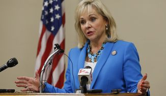 **FILE** Oklahoma Gov. Mary Fallin speaks during a news conference in Oklahoma City on Aug. 13, 2014. (Associated Press)