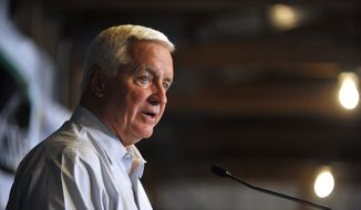 ** FILE ** Pennsylvania Gov. Tom Corbett speaks during the government and industry lunch, Wednesday, Aug. 13, 2014, during the second day of Penn State's annual Ag Progress Days in Rock Springs near State College, Pa. (AP Photo/Centre Daily Times, Nabil K. Mark)