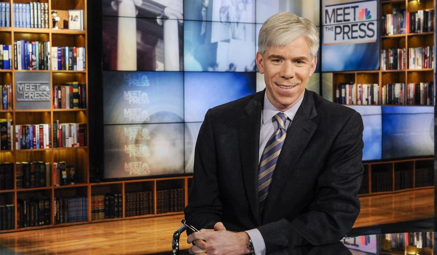 """This Feb. 24, 2013 photo released by NBC News shows moderator David Gregory on the set of """"Meet the Press,"""" in Washington. Gregory is tweeting that he is leaving NBC. In tweets posted Thursday, Aug. 14, 2014, Gregory said he is leaving the network as he arrived at it, """"humbled and grateful.""""  """"Meet the Press"""" has fallen to third place since he took it over in 2008. His departure had been rumored for months. (AP Photo/NBC, William B.  Plowman)"""