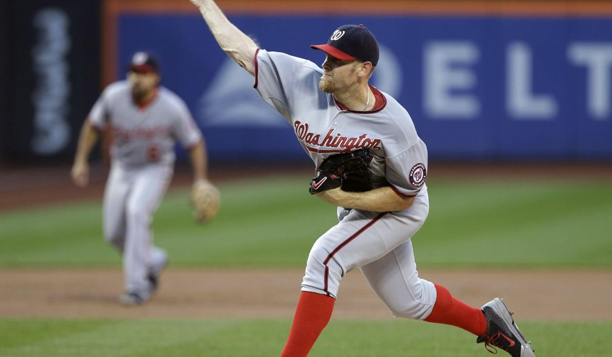 Washington Nationals' Stephen Strasburg (37) delivers a pitch during the first inning of a baseball game against the New York Mets Thursday, Aug. 14, 2014, in New York. (AP Photo/Frank Franklin II)