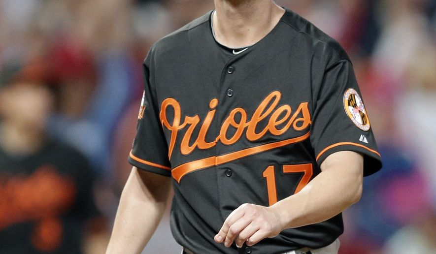 Baltimore Orioles relief pitcher Brian Matusz walks off the field after giving up a game-winning solo home run to Cleveland Indians' Mike Aviles in the eleventh inning of a baseball game, Friday, Aug. 15, 2014, in Cleveland. The Indians defeated the Orioles 2-1 in 11 innings. (AP Photo/Tony Dejak)