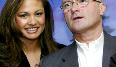 "14. Phil Collins and Orianne Cevey split in 2008 costing the singer almost $47 million. FILE-Phil Collins and his wife Orianne pose  at the pre-screening of the Disney movie ""Brother Bear"", for which he wrote the soundtrack, in this file photo from March 20, 2004 in the Arena in Geneva, Switzerland. The couple have agreed to separate after six years of marriage.  They have two sons.  (AP Photo/Keystone, Georgios Kefalas,File)"