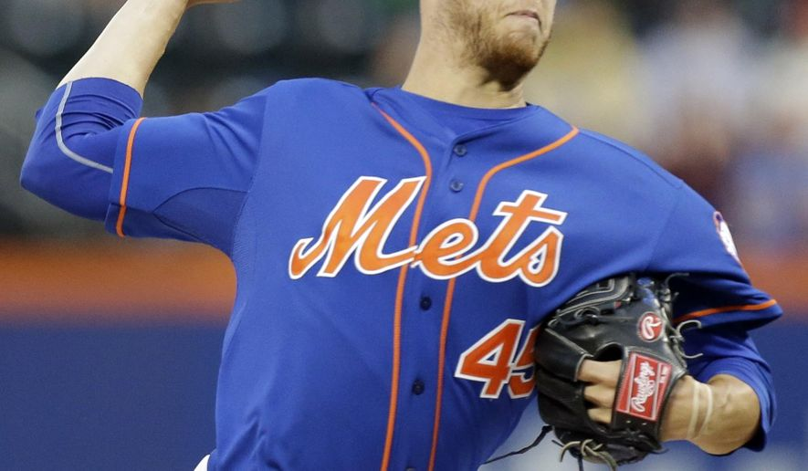 New York Mets' Zack Wheeler delivers a pitch during the first inning of a baseball game against the Chicago Cubs, Friday, Aug. 15, 2014, in New York. (AP Photo/Frank Franklin II)