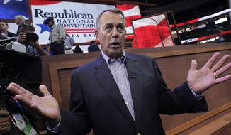 FILE - This Aug. 27, 2012, file photo shows House Speaker John Boehner of Ohio, on the floor of the Republican National Convention in Tampa, Fla. Boehner is a $40 million fundraising force and shows no signs of losing his draw among fellow Republicans. The Ohio lawmaker accounts for about one-fifth of all National Republican Congressional Committee fundraising since January 2013, and he has helped the GOP's main House campaign committee raise millions more than his direct giving suggests. As Boehner considers retirement in coming years, Republicans are in the hunt for a prodigious fundraiser who can patch what could be a giant hole in campaign budgets. (AP Photo/J. Scott Applewhite, File)