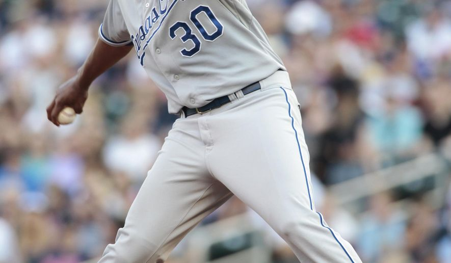Kansas City Royals starting pitcher Yordano Ventura delivers during the first inning of a baseball game against the Minnesota Twins, Saturday, Aug. 16, 2014, in Minneapolis. (AP Photo/Paul Battaglia)
