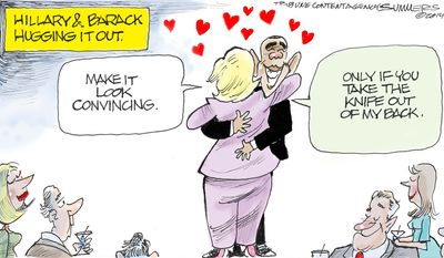Hillary and Barack hugging it out. (Illustration by Dana Summers of the Tribune Media Services)