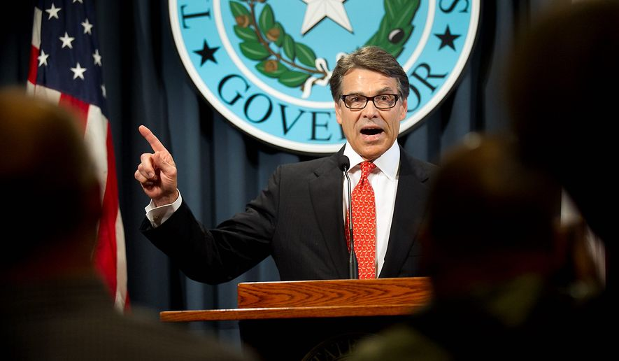Texas Gov. Rick Perry has a pet project under investigation for redirecting contributions to Republicans. (Associated Press)