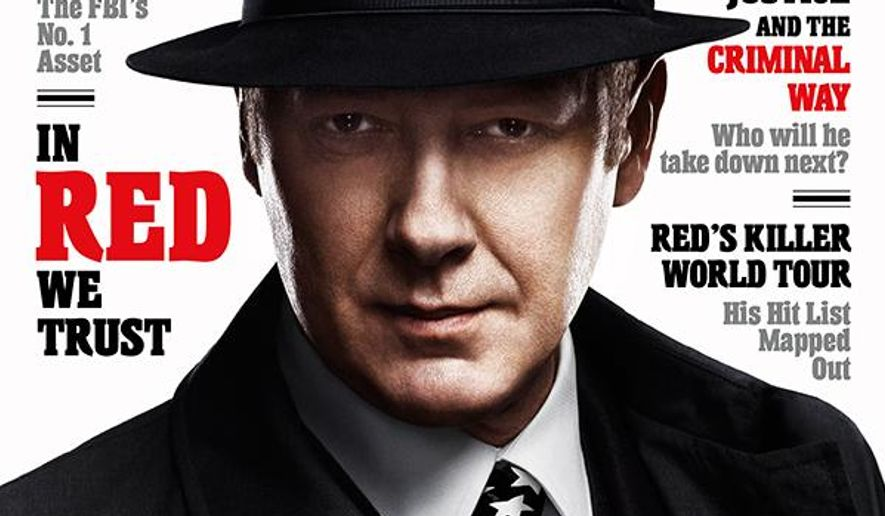 "This advertisement released by NBC shows a mock magazine cover featuring James Spader in character as Raymond Reddington from the NBC series ""The Blacklist."" Spader, will be featured on 11 mock magazine covers, on billboards and online, to promote the network's top drama before its Sept. 22 return. (AP Photo/NBC)"