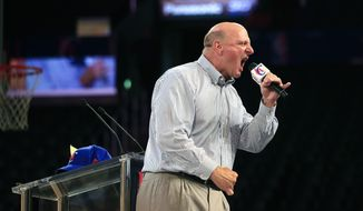 New Los Angeles Clippers owner Steve Ballmer, center, fires up the crowd as he speaks at the Clippers Fan Festival on Monday, Aug. 18, 2014, in Los Angeles. (AP Photo/Jae C. Hong)