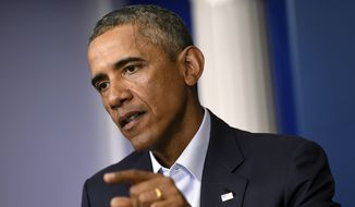 ** FILE ** President Barack Obama speaks in the James Brady Press Briefing Room in the White House in Washington, Monday, Aug. 18, 2014. (AP Photo/Susan Walsh)