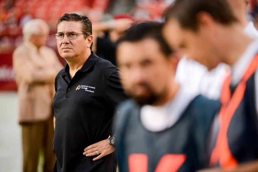 Washington Redskins owner Dan Snyder stands on the sidelines before the Washington Redskins play the Cleveland Browns in NFL preseason football at FedExField, Landover, Md., Monday, August 18, 2014. (Andrew Harnik/The Washington Times)