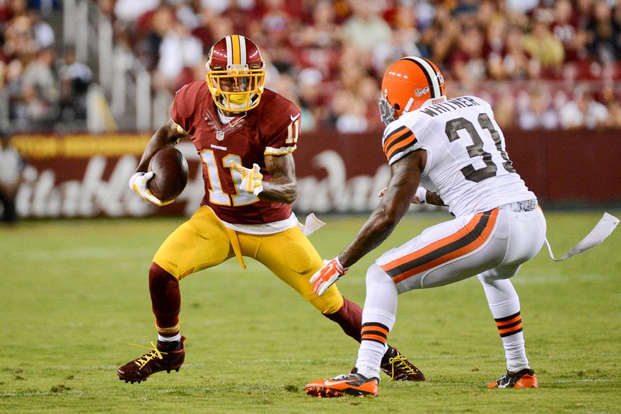 Washington Redskins wide receiver DeSean Jackson (11) runs past Cleveland Browns strong safety Donte Whitner (31) in the first quarter as the Washington Redskins play the Cleveland Browns in NFL preseason football at FedExField, Landover, Md., Monday, August 18, 2014. (Andrew Harnik/The Washington Times)