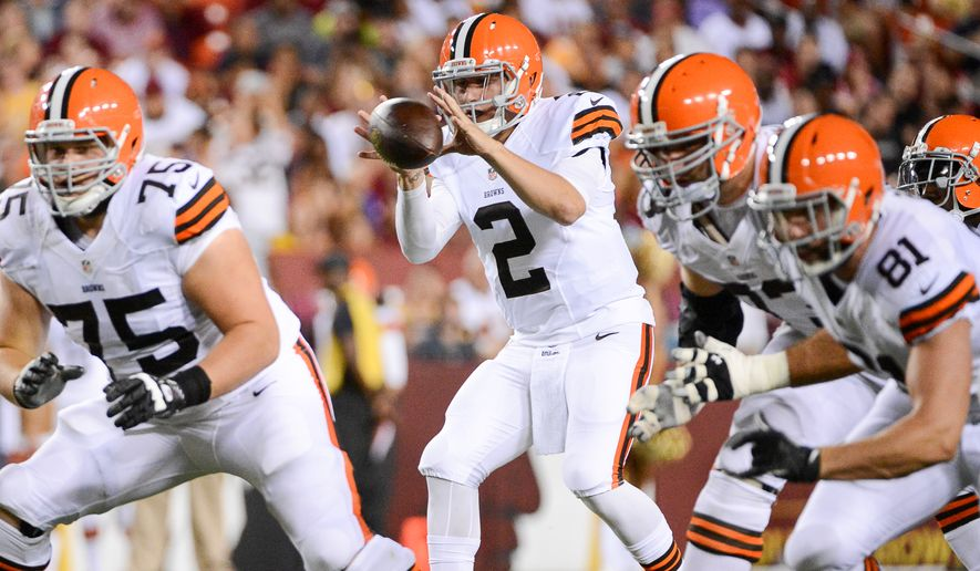Cleveland Browns quarterback Johnny Manziel (2) plays in the first quarter as the Washington Redskins play the Cleveland Browns in NFL preseason football at FedExField, Landover, Md., Monday, August 18, 2014. (Andrew Harnik/The Washington Times)